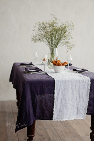 Purple Charcoal Linen tablecloth
