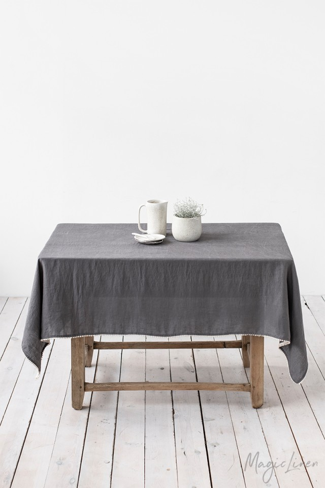 Pom pom trim linen tablecloth