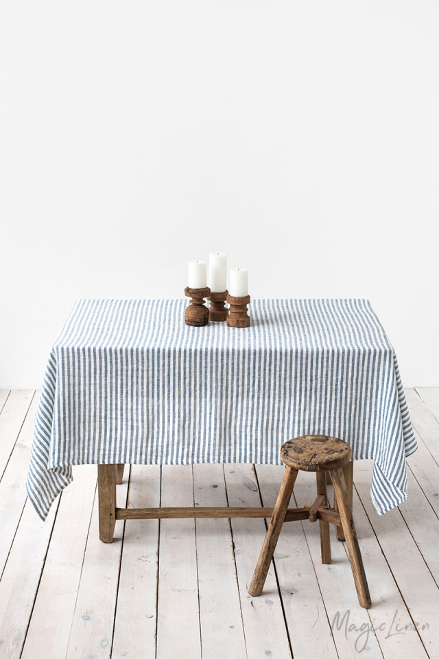 Striped in Blue Linen tablecloth