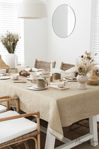 Polka dots linen tablecloth