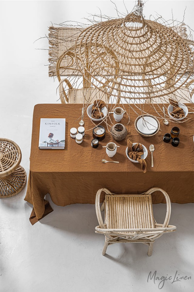 Cinnamon Linen tablecloth
