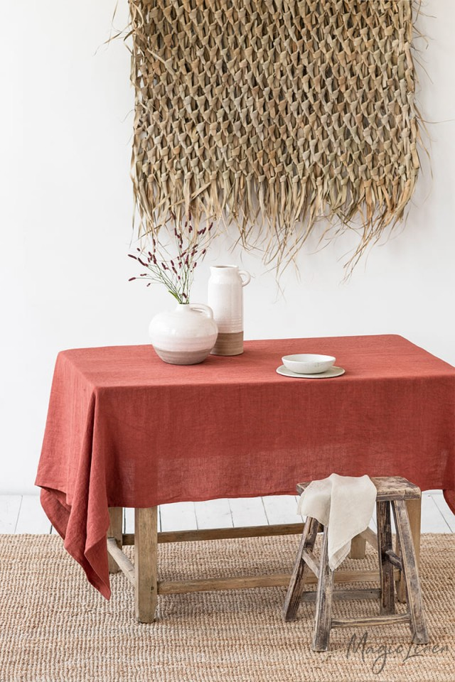 Clay Linen tablecloth