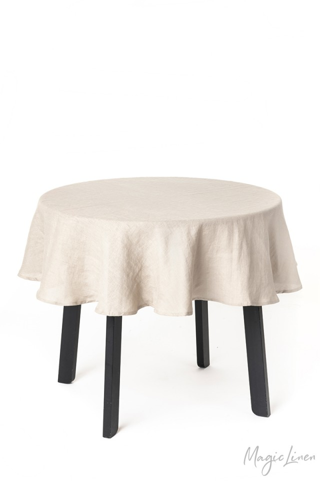 Round linen tablecloth
