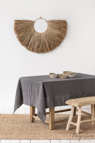 Charcoal Gray Linen tablecloth