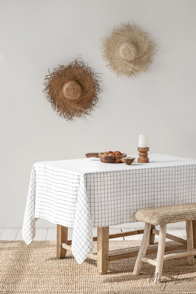 Charcoal Grid Linen tablecloth