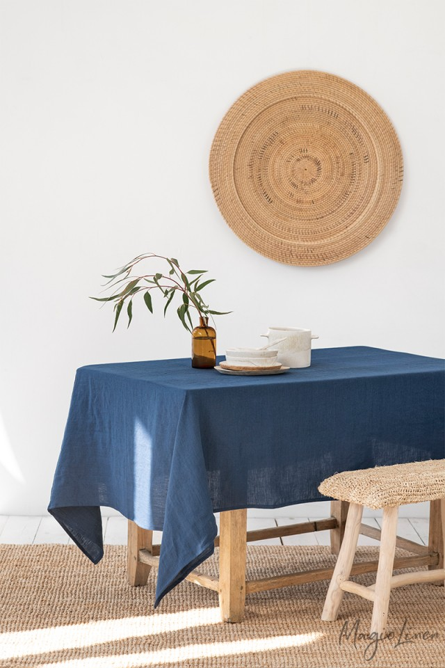 Navy Blue Linen tablecloth