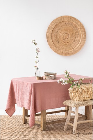 Rust Pink Linen tablecloth