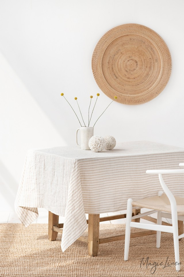 Striped in Natural Linen tablecloth