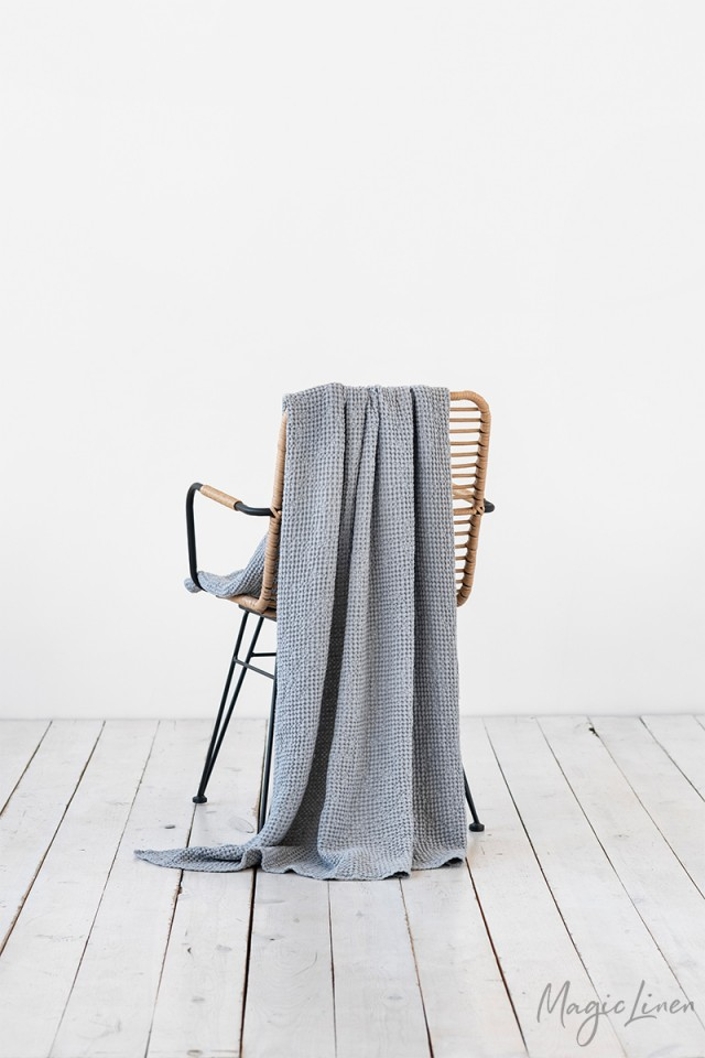 Light gray waffle throw