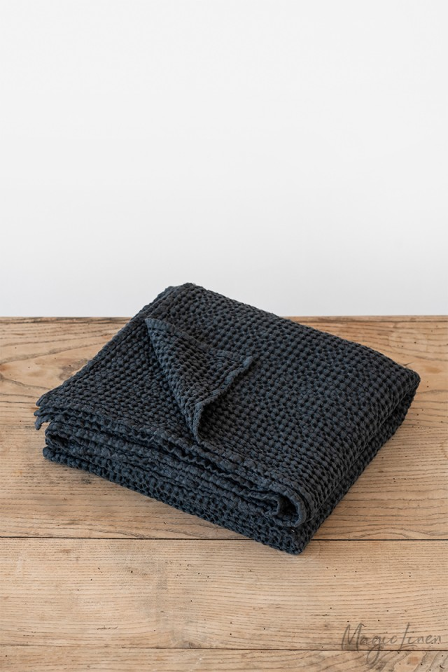 Dark gray waffle throw