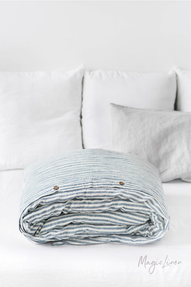 Striped in blue linen duvet cover