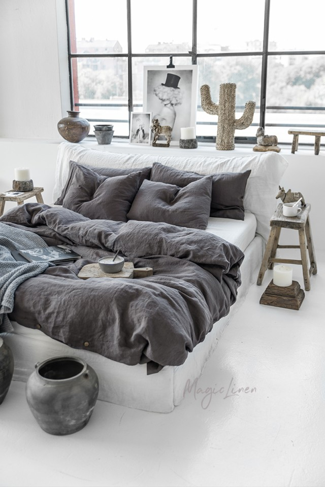 Charcoal gray linen duvet cover