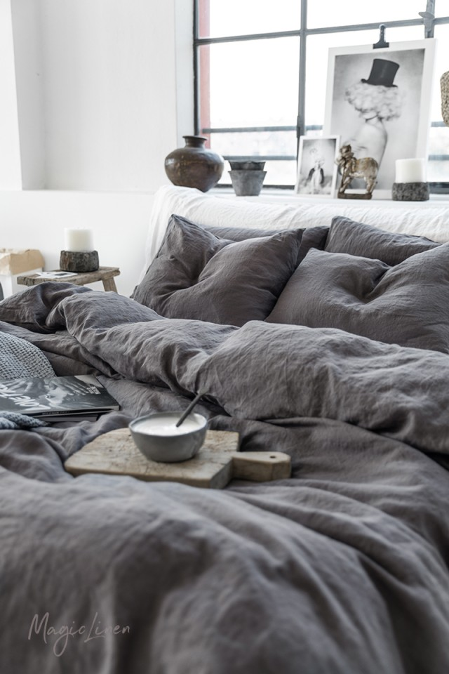 Charcoal gray linen sheet set (4 pcs)