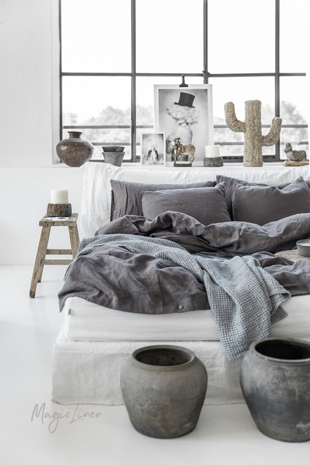 Charcoal gray linen duvet cover set (3 pcs)