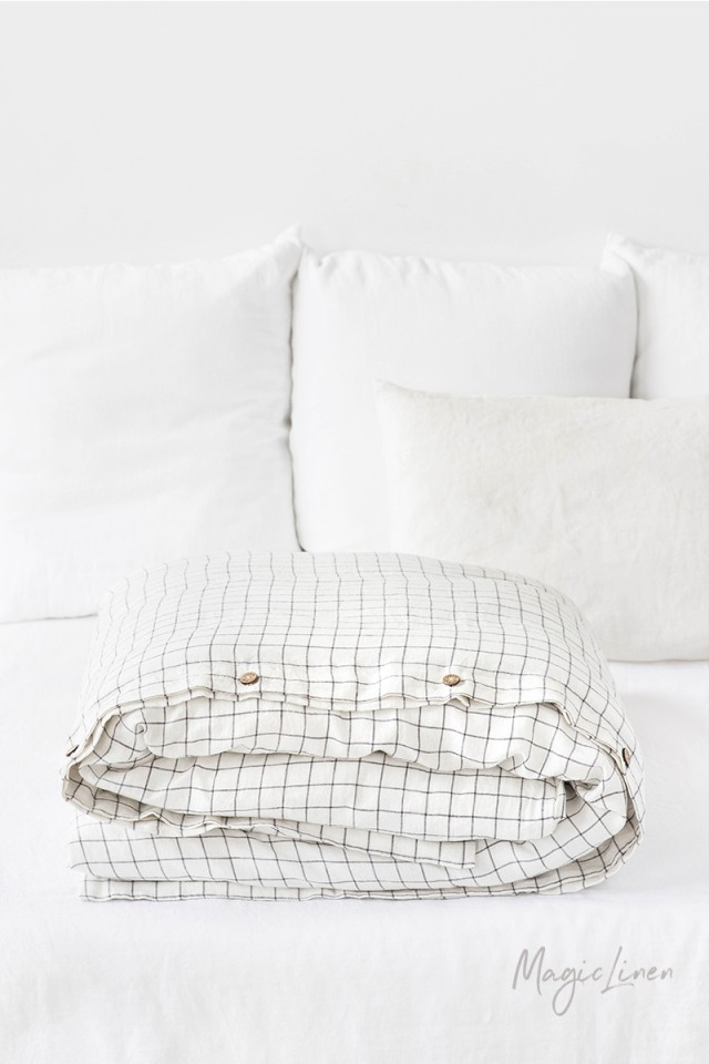 Charcoal grid linen duvet cover