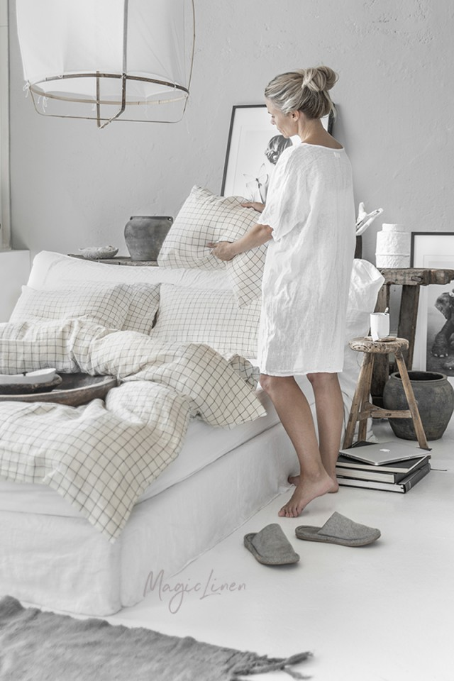 Charcoal grid linen duvet cover set (3 pcs)