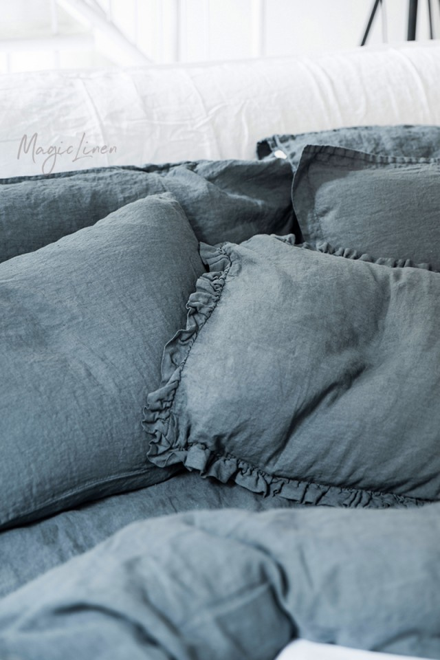 Gray blue linen duvet cover set (3 pcs)