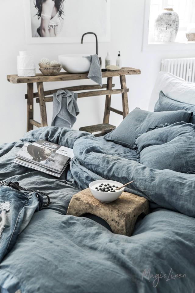 Gray blue linen duvet cover