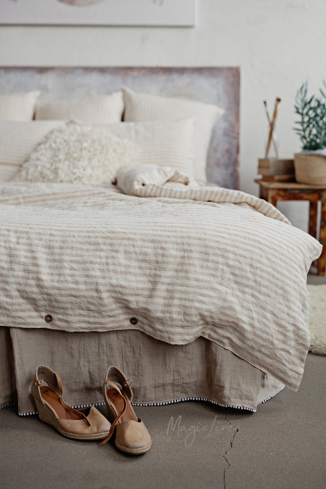 Striped in natural linen duvet cover set (3 pcs)