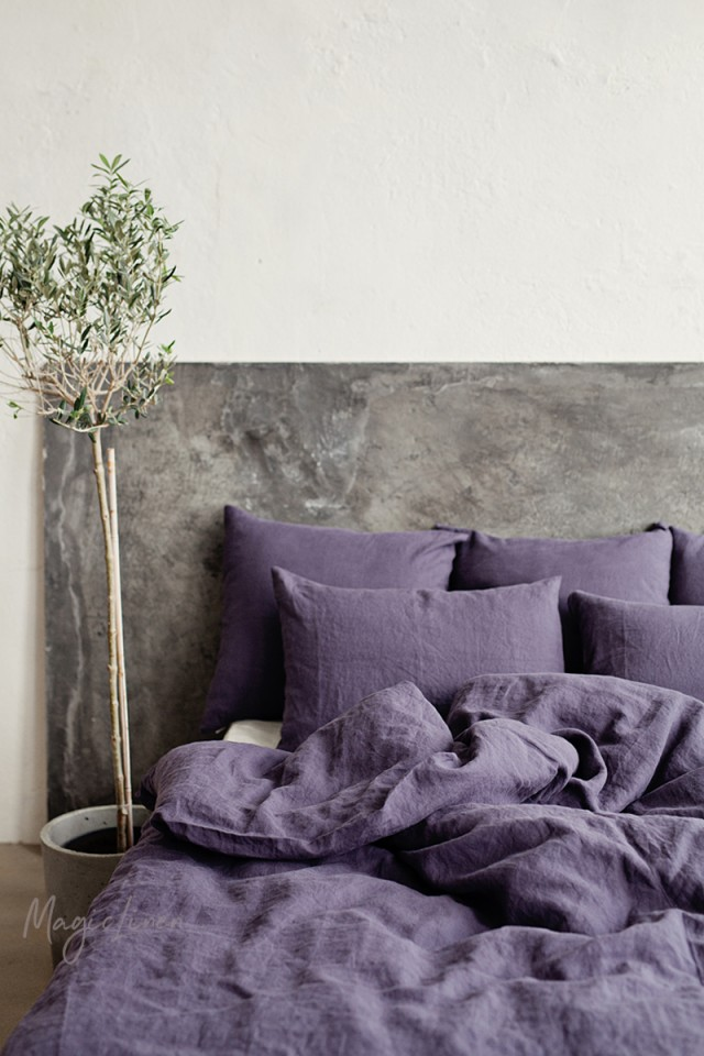 Purple charcoal linen duvet cover set (3 pcs)