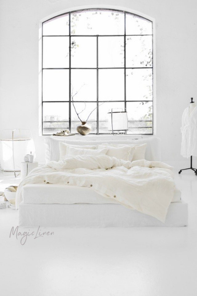 Ivory linen duvet cover set (3 pcs)