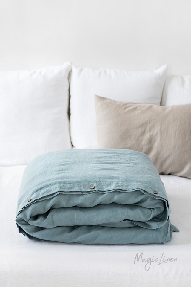 Aquamarine blue linen duvet cover