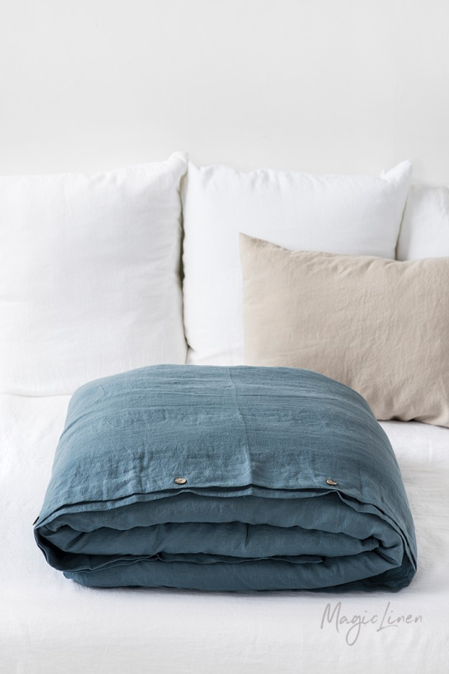 Duvet Covers.Gray Blue Linen Duvet Cover