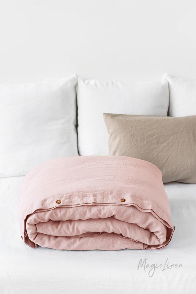 Light pink linen duvet cover set (3 pcs)