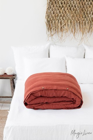 Clay linen duvet cover
