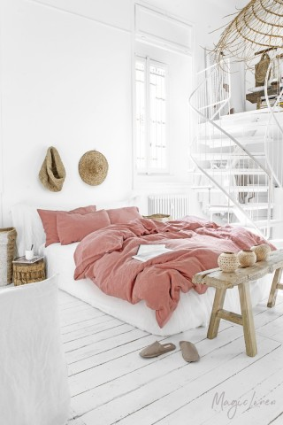Rust pink linen duvet cover set (3 pcs)