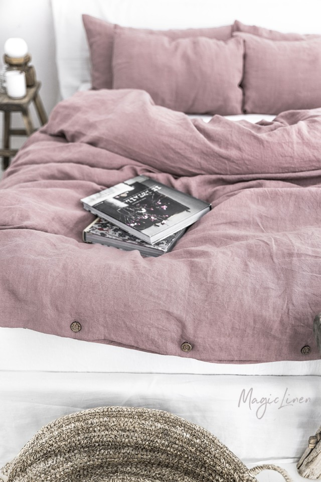 Woodrose linen duvet cover set (3 pcs)