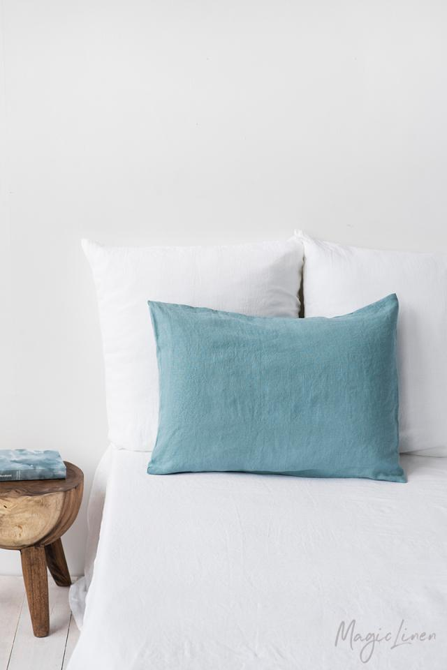 Aquamarine blue linen pillowcase