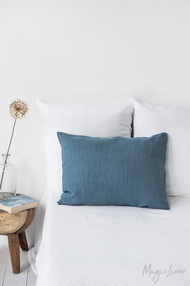 Gray blue linen pillowcase