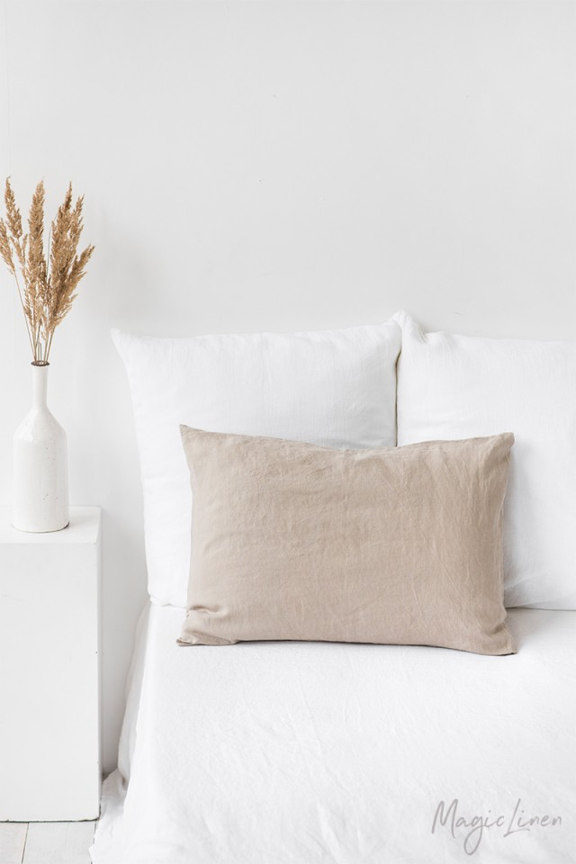 Natural linen pillowcase