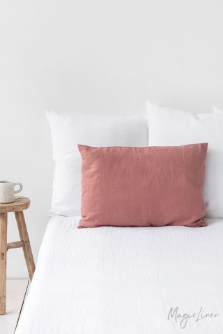 Rust pink linen pillowcase
