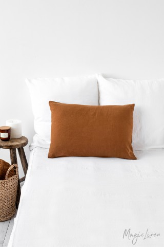 Cinnamon linen pillowcase