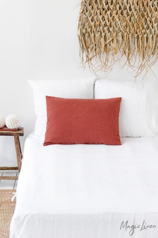 Clay linen pillowcase