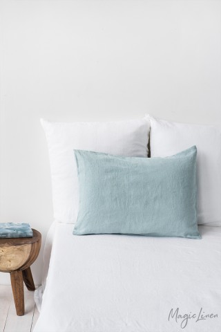 Dusty blue linen pillowcase
