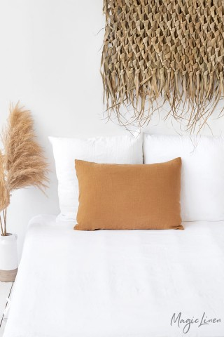 Tan linen pillowcase