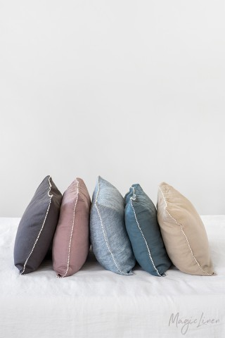 Pom pom trim linen pillowcase