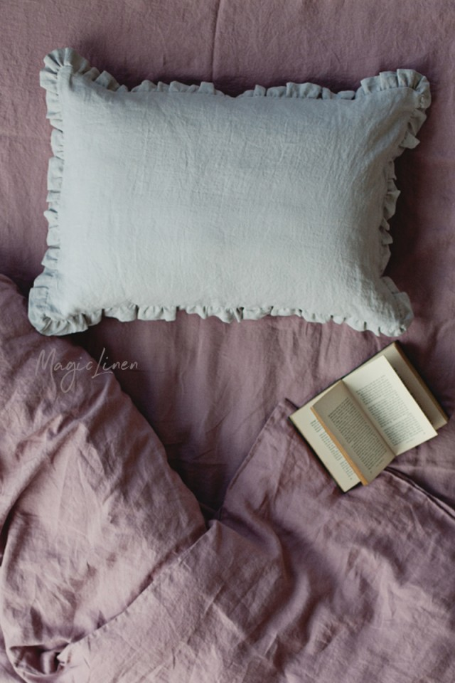Ruffle trim linen pillowcase