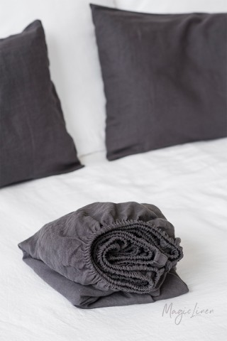 Charcoal gray linen fitted sheet