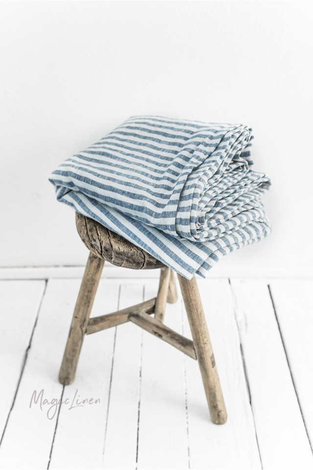 Striped in blue linen flat sheet