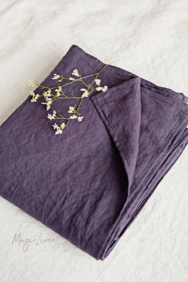 Purple charcoal linen flat sheet