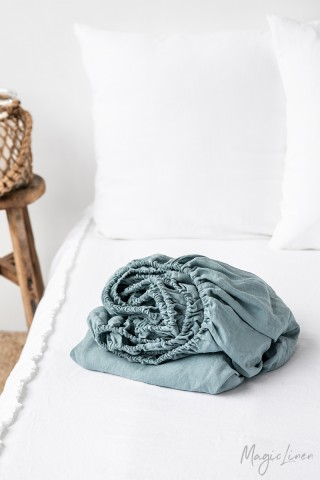 Aquamarine blue linen fitted sheet