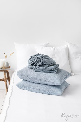 Blue melange linen sheet set (4 pcs)