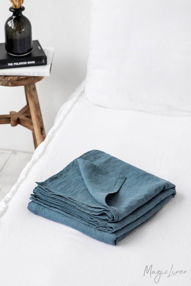 Gray blue linen flat sheet