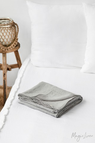 Light gray linen flat sheet