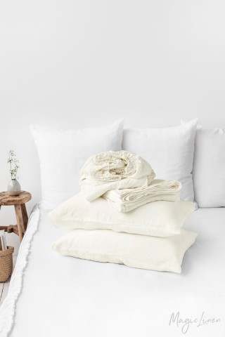Ivory linen sheet set (4 pcs)