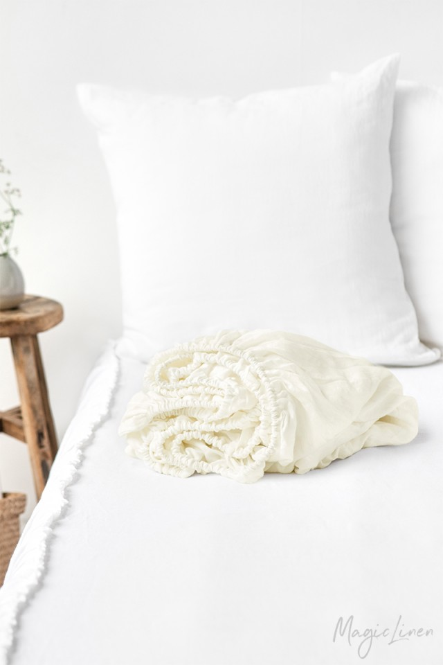 Ivory linen fitted sheet
